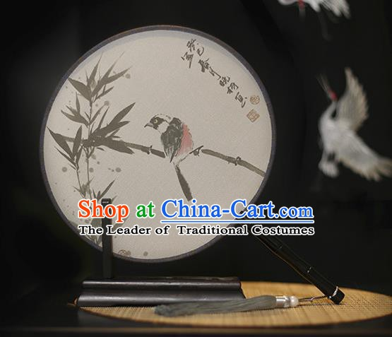 Traditional Chinese Crafts Printing Bamboo Silk Round Fan, China Palace Fans Princess Circular Fans for Women