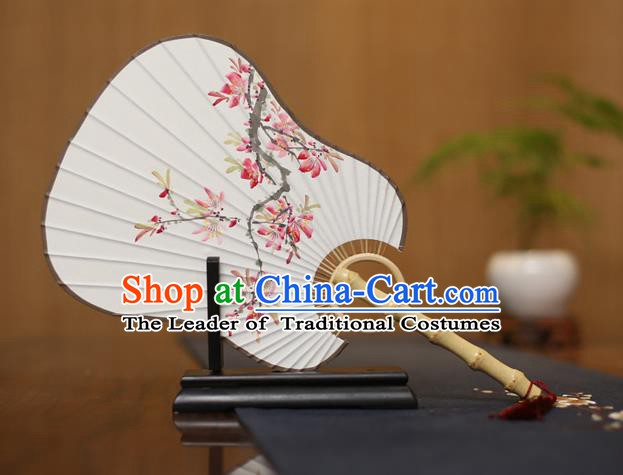 Traditional Chinese Crafts Ink Painting Plum Blossom Paper Fan, China Palace Princess Fans for Women
