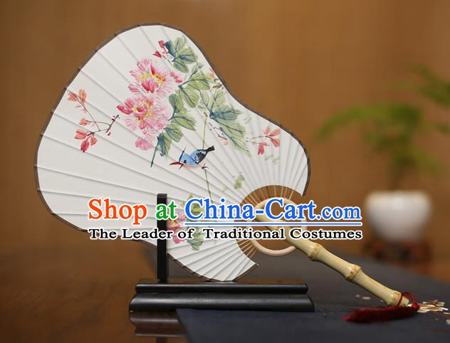 Traditional Chinese Crafts Ink Painting Flowers Paper Fan, China Palace Princess Fans for Women