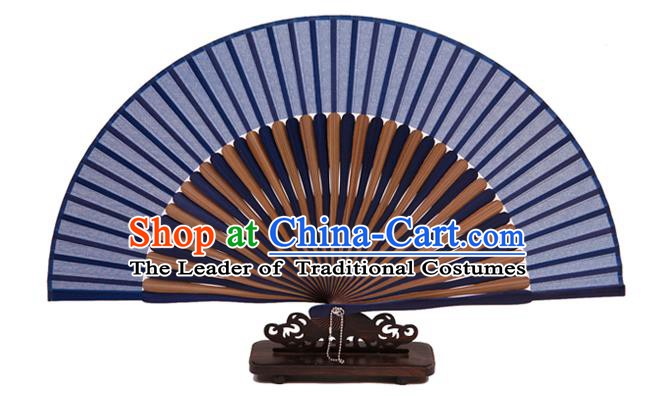 Traditional Chinese Crafts Blue Silk Folding Fan, China Handmade Bamboo Bone Fans for Women