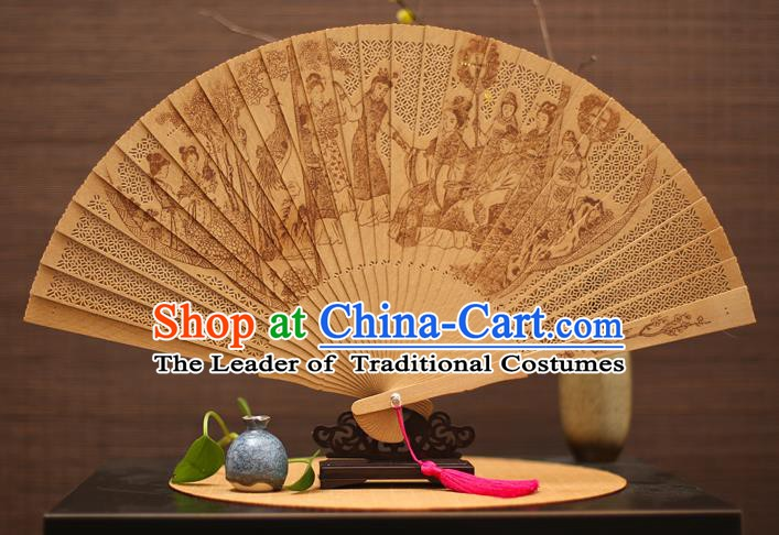 Traditional Chinese Crafts Sandalwood Folding Fan, China Handmade Hollow Out A Dream in Red Mansions Incienso Fans for Women