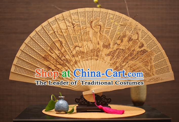 Traditional Chinese Crafts Sandalwood Folding Fan, China Handmade Hollow Out Crane Incienso Fans for Women
