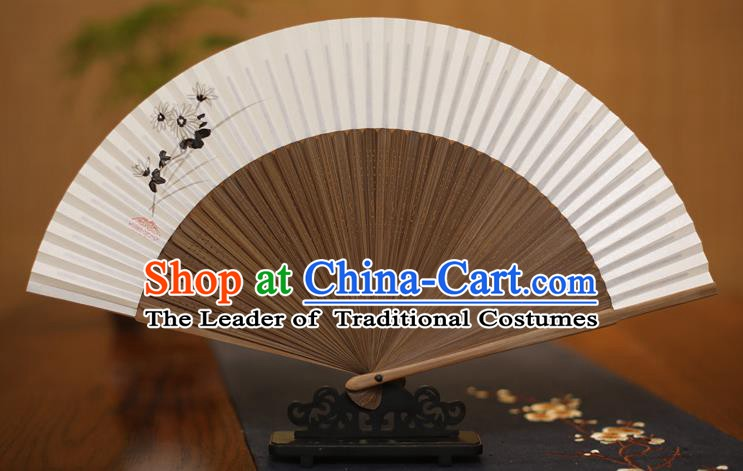Traditional Chinese Crafts Printing Flowers Folding Fan, China Handmade Xuan Paper Fans for Women