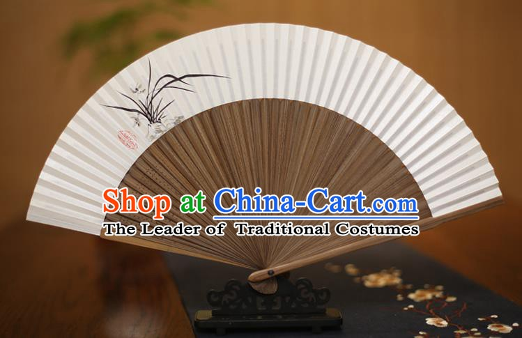 Traditional Chinese Crafts Printing Orchid Folding Fan, China Handmade Xuan Paper Fans for Women