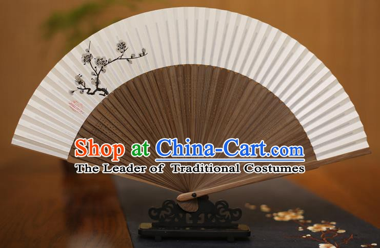 Traditional Chinese Crafts Printing Plum Blossom Folding Fan, China Handmade Xuan Paper Fans for Women