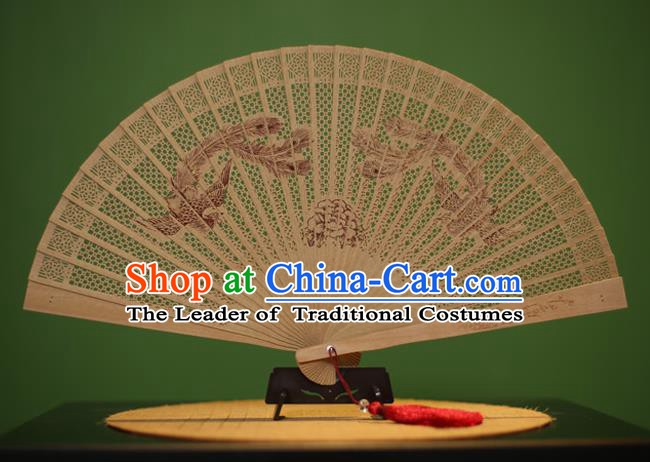 Traditional Chinese Crafts Sandalwood Folding Fan, China Handmade Carving Phoenix Peony Incienso Fans for Women