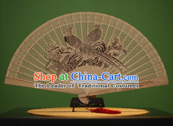 Traditional Chinese Crafts Sandalwood Folding Fan, China Handmade Carving Birds Incienso Fans for Women