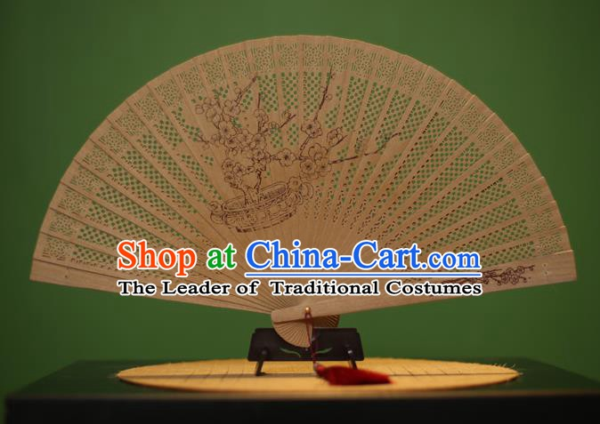 Traditional Chinese Crafts Sandalwood Folding Fan, China Handmade Carving Plum Blossom Incienso Fans for Women