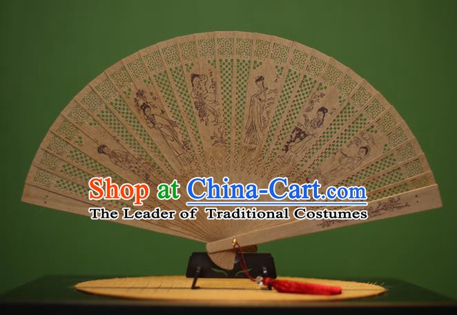 Traditional Chinese Crafts Sandalwood Folding Fan, China Handmade Carving Beauty Incienso Fans for Women