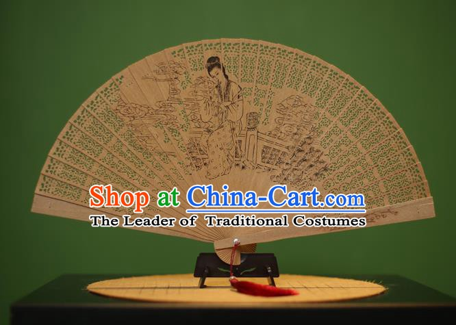 Traditional Chinese Crafts Sandalwood Folding Fan, China Handmade Carving Maidenform Incienso Fans for Women