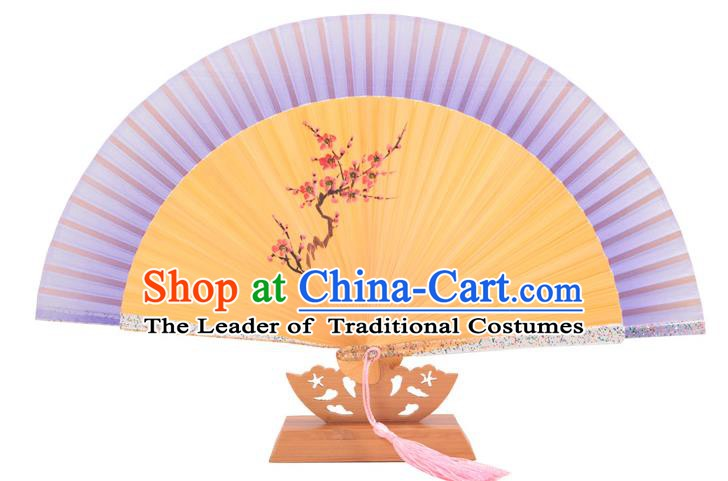 Traditional Chinese Crafts Purple Silk Folding Fan, China Handmade Printing Wintersweet Bamboo Bone Fans for Women