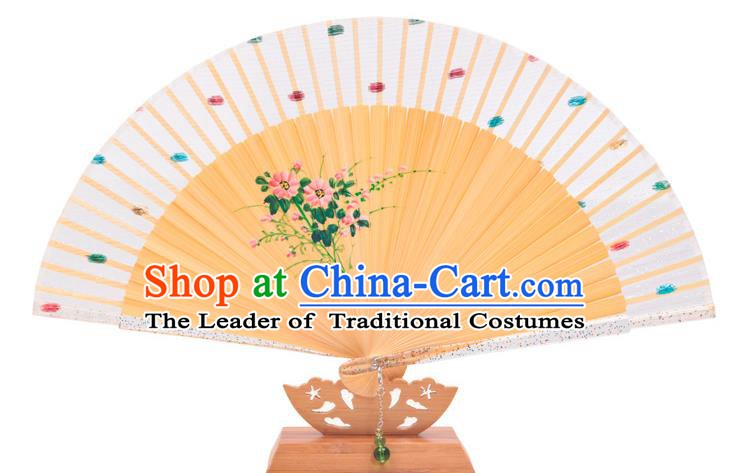 Traditional Chinese Crafts White Silk Folding Fan, China Handmade Printing Flowers Bamboo Bone Fans for Women