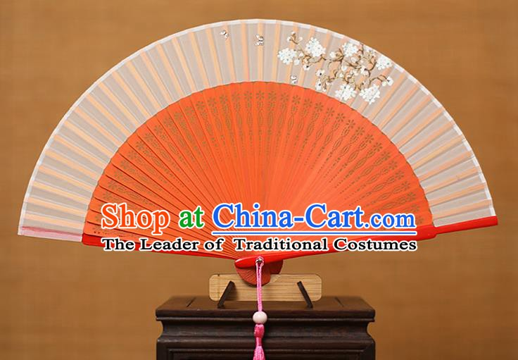 Traditional Chinese Crafts Printing Flowers Classical Folding Fan, China Handmade Red Bamboo Silk Fans for Women
