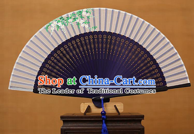 Traditional Chinese Crafts Printing Flowers Classical Folding Fan, China Handmade Navy Bamboo Silk Fans for Women