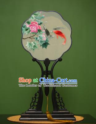 Traditional Chinese Crafts Suzhou Embroidery Palace Fan, China Princess Embroidered Peony Fish Silk Fans for Women