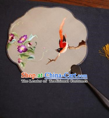 Traditional Chinese Crafts Suzhou Embroidery Palace Fan, China Princess Embroidered Bird Flower Silk Fans for Women
