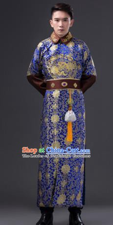 Traditional Chinese Qing Dynasty Royal Highness Costume, China Ancient Manchu Prince Embroidered Clothing for Men