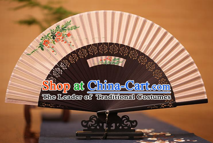 Traditional Chinese Crafts Printing Flowers Folding Fan, China Handmade Classical Silk Fans for Women