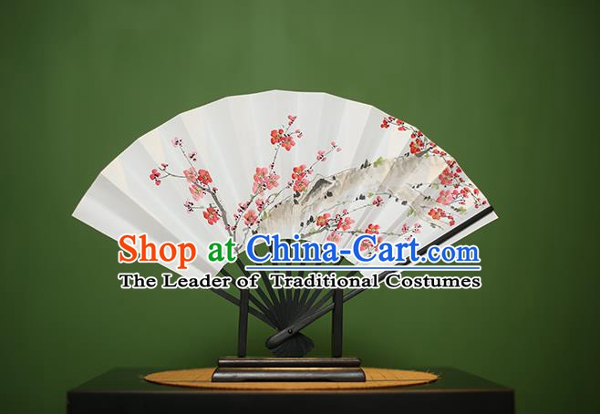 Traditional Chinese Crafts Printing Wintersweet Paper Folding Fan, China Handmade Classical Fans for Women