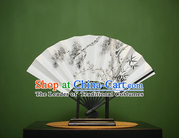 Traditional Chinese Crafts Printing Pine Bamboo Paper Folding Fan, China Handmade Classical Fans for Women
