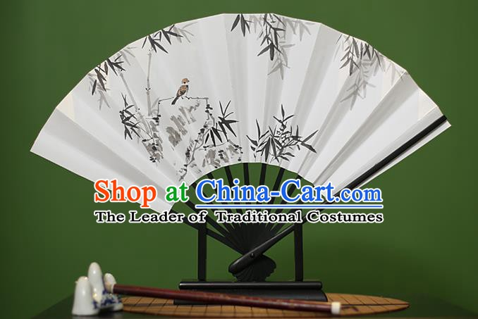 Traditional Chinese Crafts Printing Bamboo Paper Folding Fan, China Handmade Classical Fans for Women