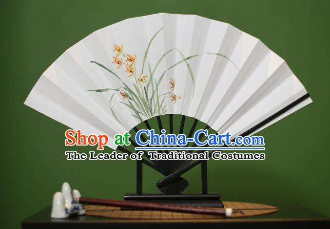 Traditional Chinese Crafts Printing Orchid Paper Folding Fan, China Handmade Classical Fans for Women