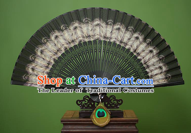 Traditional Chinese Crafts Peacock Spreads Tail Folding Fan, China Handmade Classical Black Silk Fans for Women