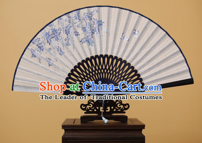 Traditional Chinese Crafts Printing Wisteria Folding Fan, China Handmade Classical White Fans for Women