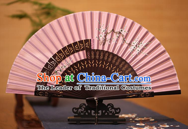 Traditional Chinese Crafts Printing Wintersweet Folding Fan, China Handmade Classical Pink Silk Fans for Women