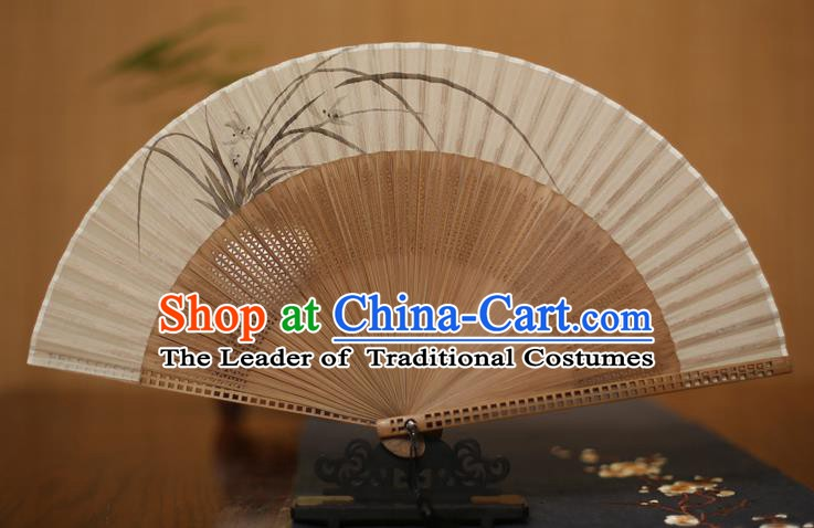 Traditional Chinese Crafts Printing Orchid Folding Fan, China Handmade Classical Silk Pierced Fans for Women