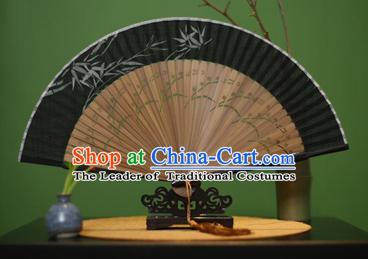 Traditional Chinese Crafts Printing Bamboo Black Linen Folding Fan, China Handmade Classical Fans for Women
