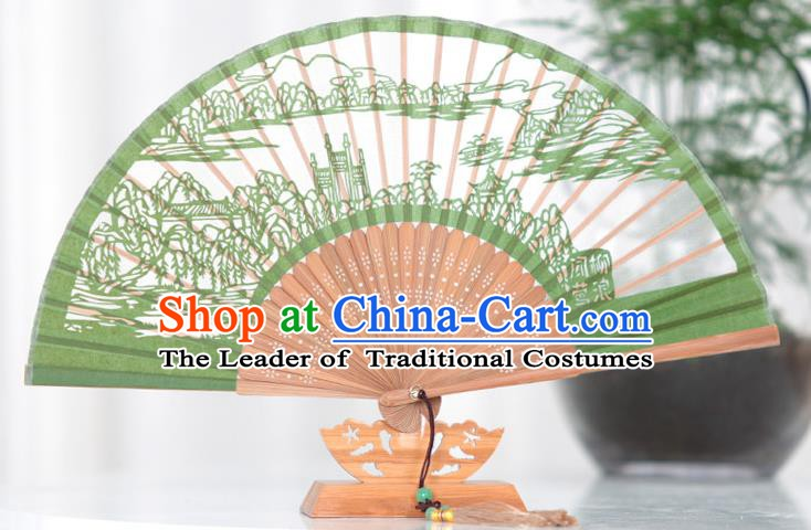 Traditional Chinese Crafts Hand Painting West Lake Scenery Folding Fan, China Handmade Classical Green Silk Fans for Women