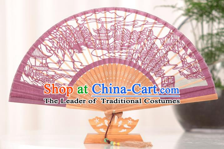 Traditional Chinese Crafts West Lake Scenery Folding Fan, China Handmade Classical Amaranth Silk Fans for Women