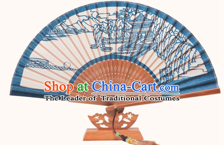 Traditional Chinese Crafts West Lake Scenery Folding Fan, China Handmade Classical Deep Blue Silk Fans for Women