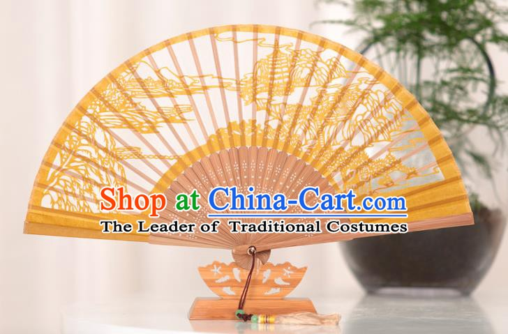 Traditional Chinese Crafts West Lake Scenery Folding Fan, China Handmade Classical Yellow Silk Fans for Women