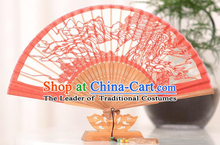 Traditional Chinese Crafts West Lake Scenery Folding Fan, China Handmade Classical Red Silk Fans for Women