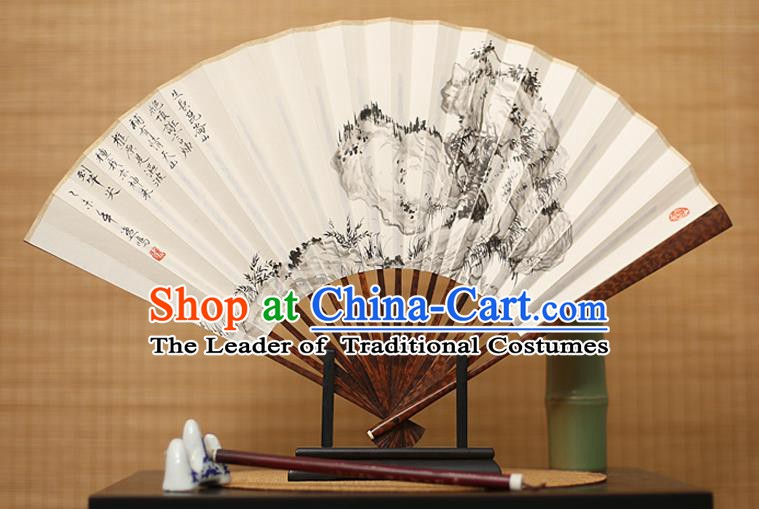 Traditional Chinese Crafts Ink Painting Paper Folding Fan, China Handmade Snakewood Fans for Men