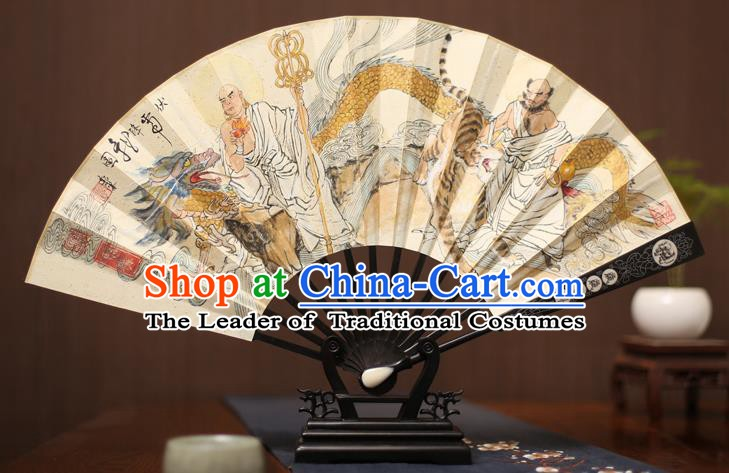 Traditional Chinese Crafts Ink Painting Paper Folding Fan, China Handmade Ebony Fans for Men