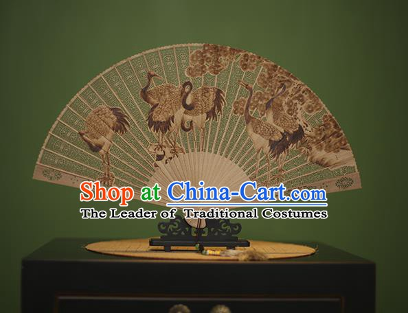 Traditional Chinese Crafts Carving Crane Classical Folding Fan, China Handmade Sandalwood Fans for Women