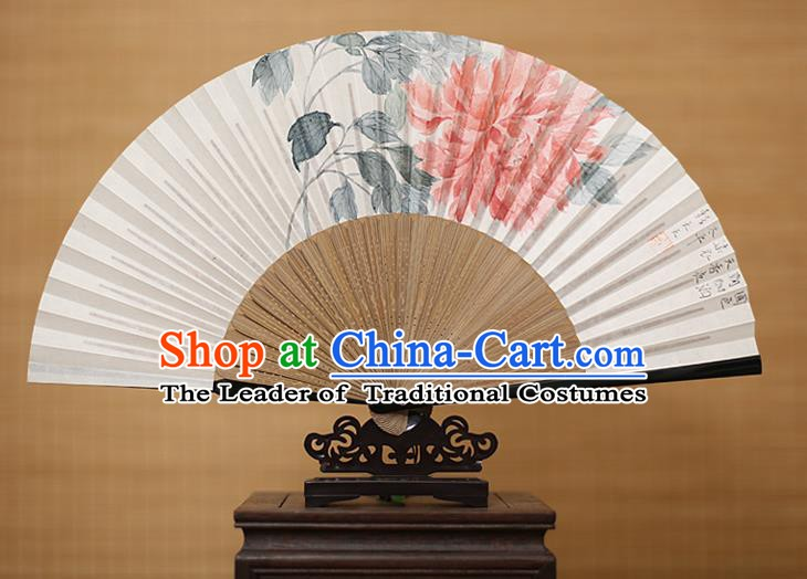 Traditional Chinese Crafts Classical Paper Folding Fan, China Handmade Painting Peony Flower Fans for Women