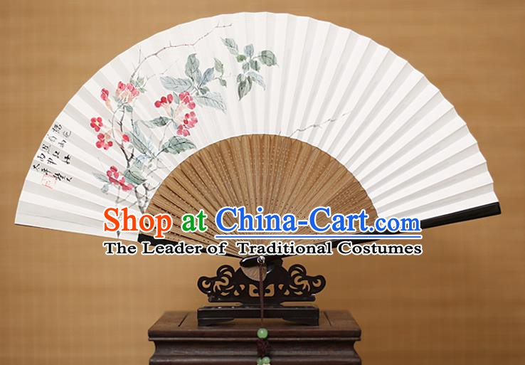 Traditional Chinese Crafts Classical Paper Folding Fan, China Handmade Painting Pomegranate Flower Fans for Women