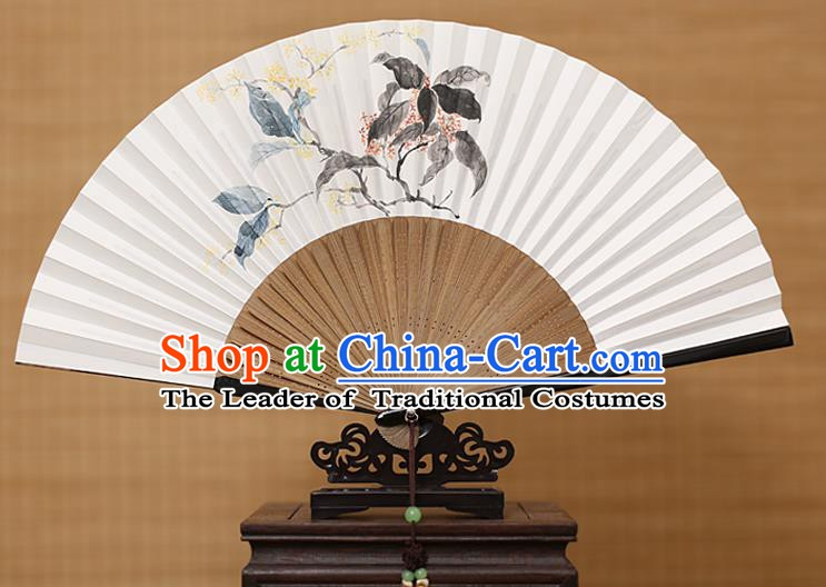 Traditional Chinese Crafts Classical Paper Folding Fan, China Handmade Painting Osmanthus Fans for Women
