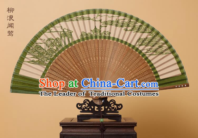 Traditional Chinese Crafts Scenery Folding Fan, China Handmade Scissor-Cut Green Silk Fans for Women
