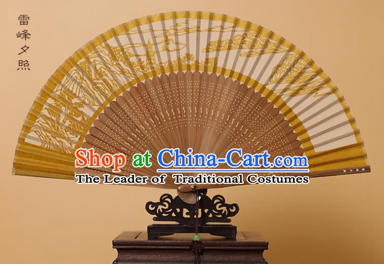 Traditional Chinese Crafts Leifeng Pagoda Scenery Folding Fan, China Handmade Scissor-Cut Yellow Silk Fans for Women