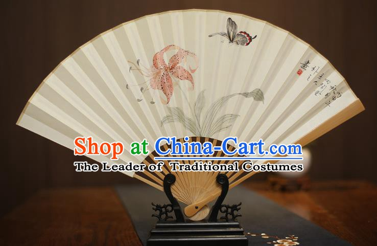 Traditional Chinese Crafts Collectables Autograph Xuan Paper Folding Fan, China Handmade Painting Butterfly Fans for Men