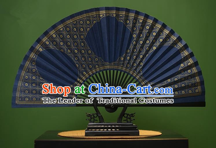 Traditional Chinese Crafts Blue Paper Folding Fan, China Handmade Gold Stamping Fans for Men