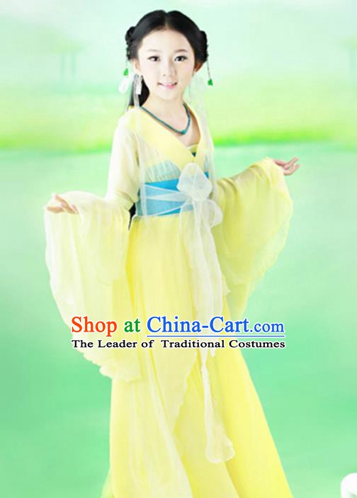 Traditional Chinese Tang Dynasty Princess Fairy Costume, China Ancient Palace Lady Hanfu Clothing for Kids