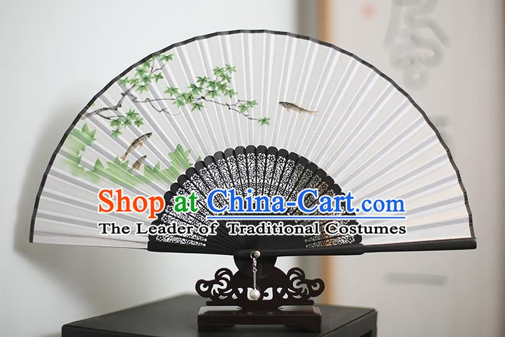 Traditional Chinese Crafts Printing Maple Leaf Classical Folding Fan, China Handmade Silk Fans for Women
