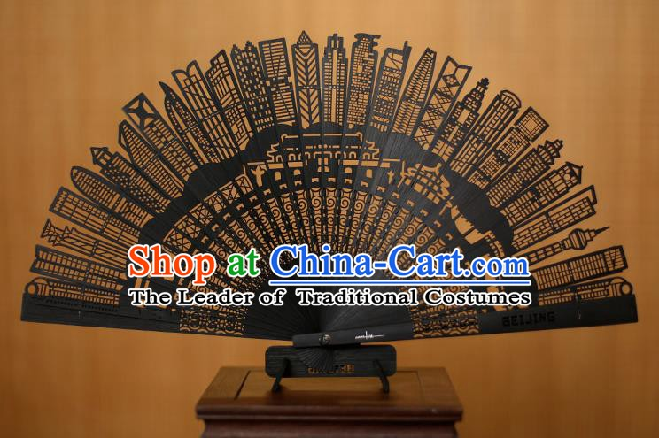 Traditional Chinese Crafts Hollow Out Bamboo Folding Fan, China Handmade Sandalwood Black Fans for Women
