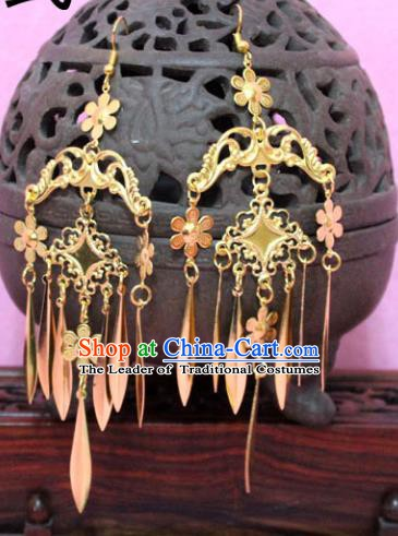 Traditional Chinese Handmade Jewelry Accessories Xiuhe Suit Bride Golden Tassel Earrings Hanfu Eardrop for Women